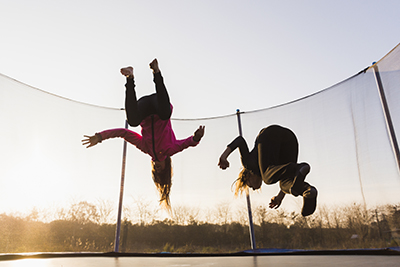 two girls on trampoline